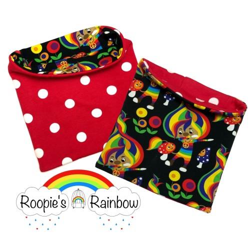 1-4y Rainbow Trolls/Red Polka Dots Reversible Snuggly Snood